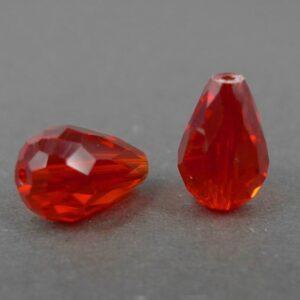 Røde facet glasdråber (2stk.)