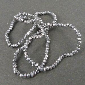 2x2½mm Sølvfarvede glasrondeller