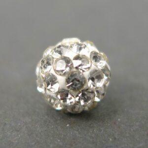 Anborede cernit perler med rhinsten, Hvide 6mm