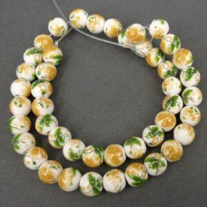 8mm Porcelænsperler med Gule roser