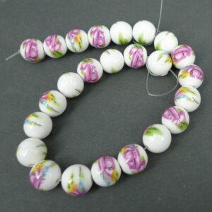 Porcelænsperler med lyserøde blomster 12mm