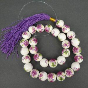 14 mm Porcelænsperler med blomster i mørk fuchsia