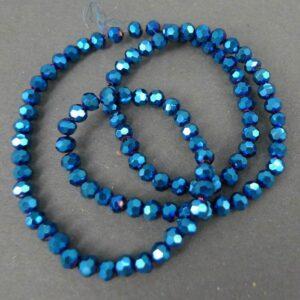 Facet glasperler 4mm, Metallic Blue