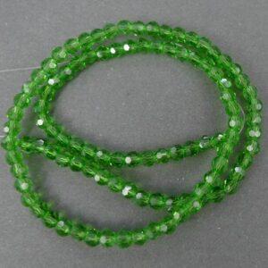 Facet glasperler 4mm, Fern Green
