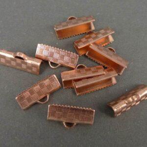 15,2 mm Kobberfarvede endestykker til bånd 10stk.