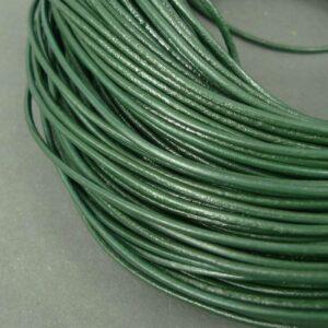 Lædersnøre flaskegrøn 2mm (pris pr. meter)