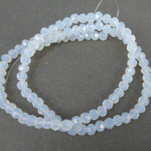 Facet glasperler 4mm, Opal White