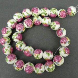 Porcelænsperler med pink roser 12mm
