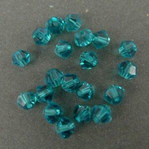 20stk Dark Turquise blue bicone glasperler 4mm.