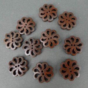 Mørkebrune blomster-knapper 19 mm(10stk)