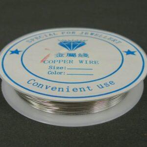 Sølvfarvet kobbertråd 0,7mm