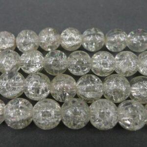 Krakelerede glasperler, klare 10mm