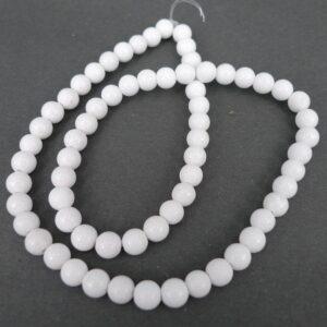 Hvid mashan jade 6 mm