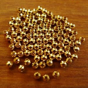 100 stk. Guldfarvede micro perler, glatte 2½mm