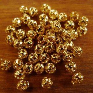 50 stk. guldfarvede Filigranperler 4mm