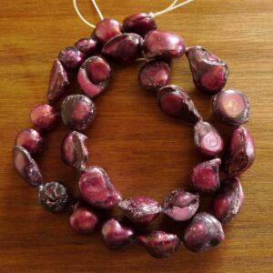 Magenta ferskvands perler, barokke 10-12mm