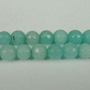 10 stk. 'Jade', Aqua facetterede 6mm