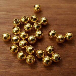 100 stk. guldfarvede perler 5mm