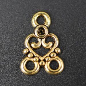 Små vedhæng med hjerte, antik guld