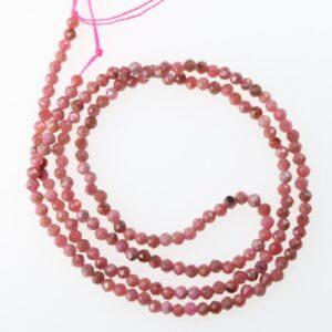 Fine, små perler i facetteret Rhodochrosit 2 mm