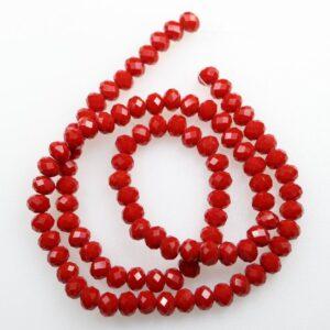 Solid Red glasrondeller 4x6mm